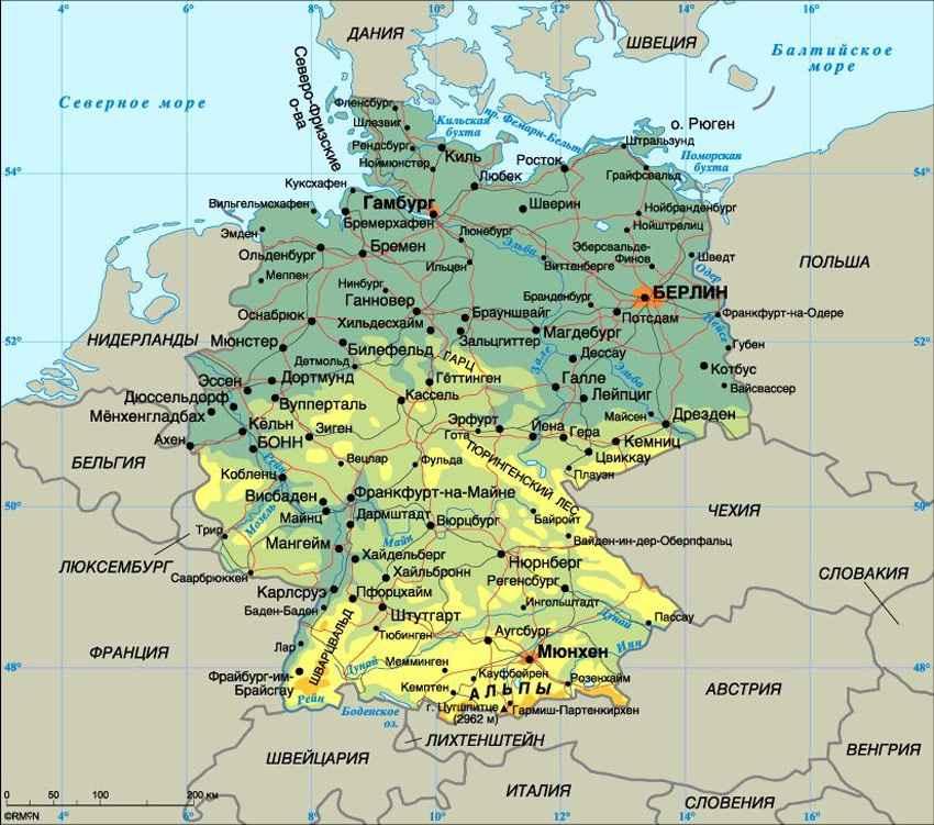 Русскоязычная физическая карта Федеративной республики Германия