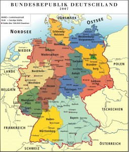 Федеративная республика Германия - политическая карта на немецком языке