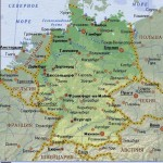 Германия на физической карте