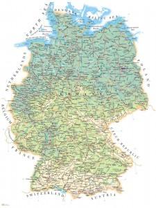 Рельеф Германии на физической карте