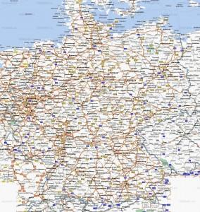 Автомобильные карты Германии на детальной карте страны (немецкий язык)