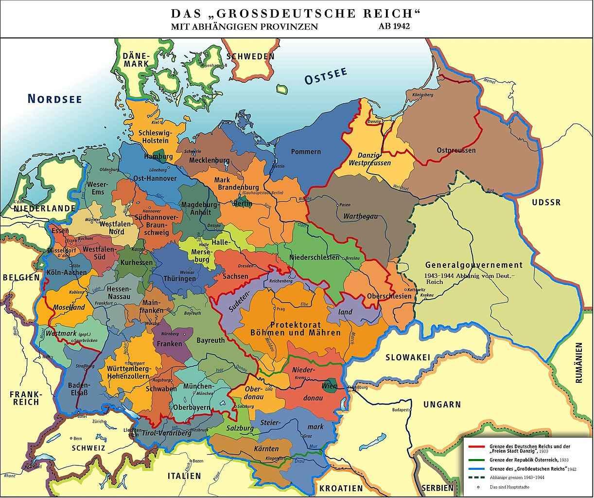 Историческая карта Германии (1942 год)