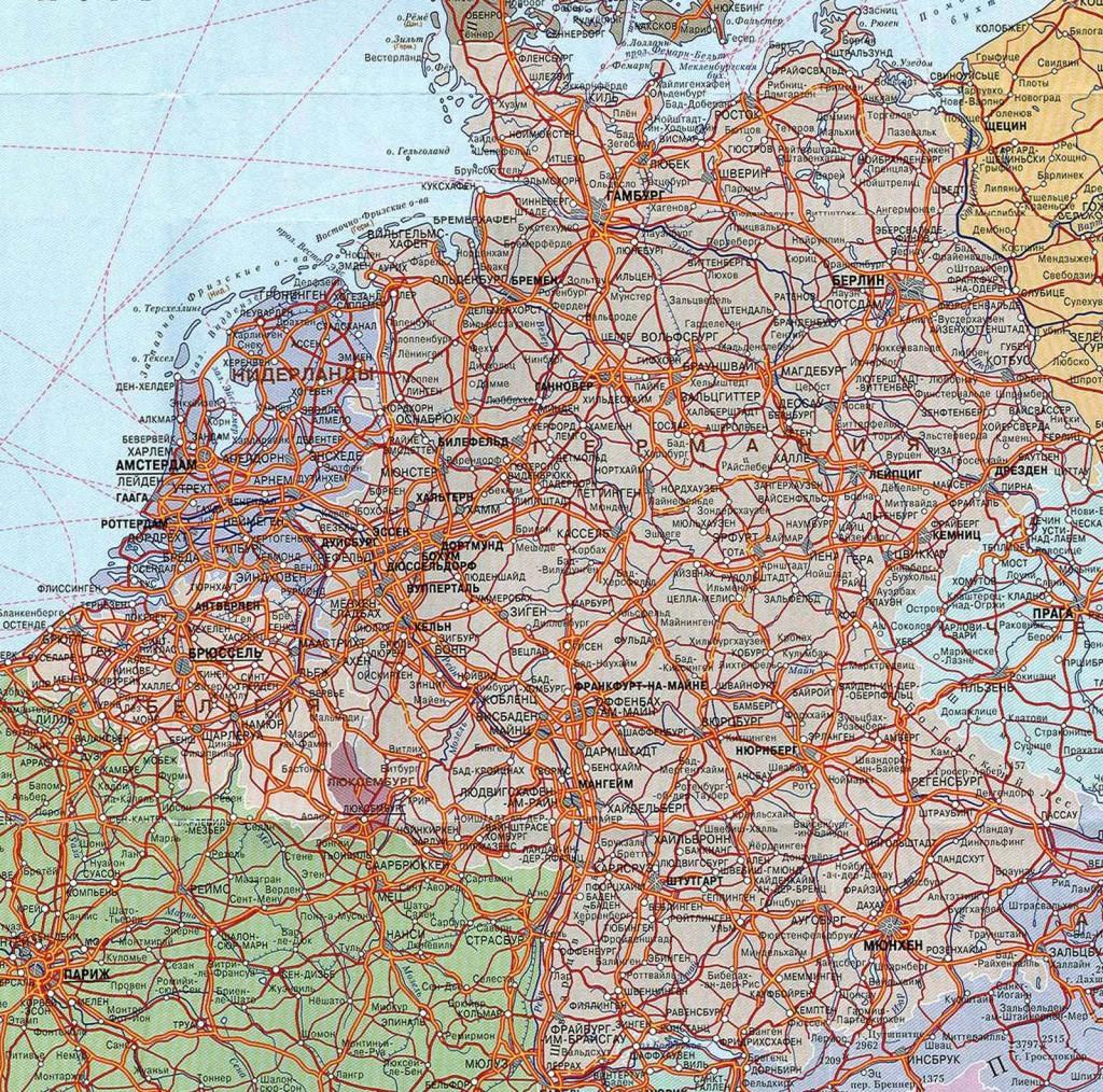 Политическая карта Германии, на которую нанесены основные автомобильные дороги страны