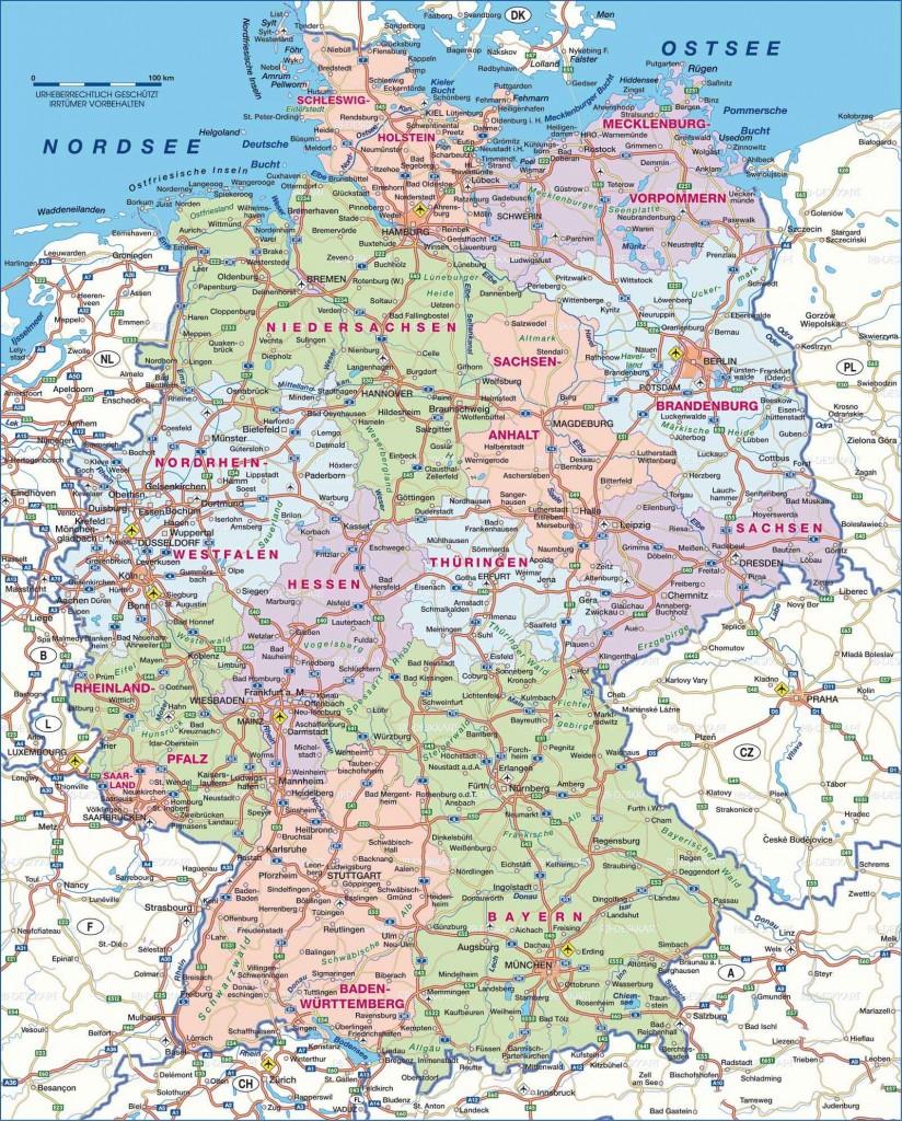 Подробная карта Германии с автомобильными дорогами на немецком