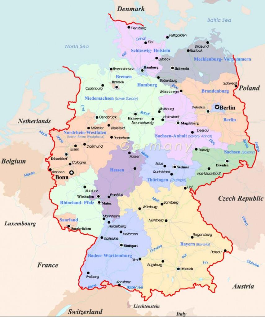 Англоязычная карта Германии политическая