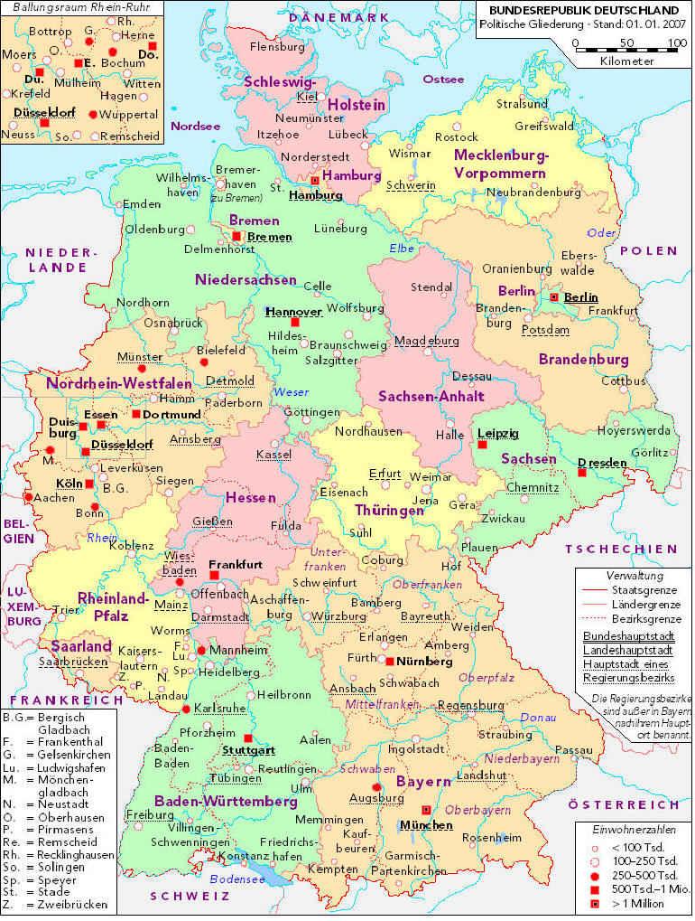 Немецкая карта германии политическая