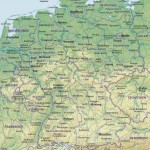 Германия – подробная физико-политическая карта государства