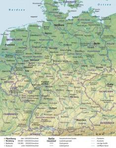 Германия - подробная физико-политическая карта государства