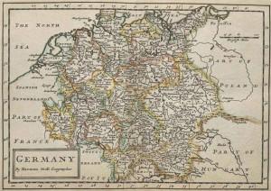 Германия - старинная карта на английском языке