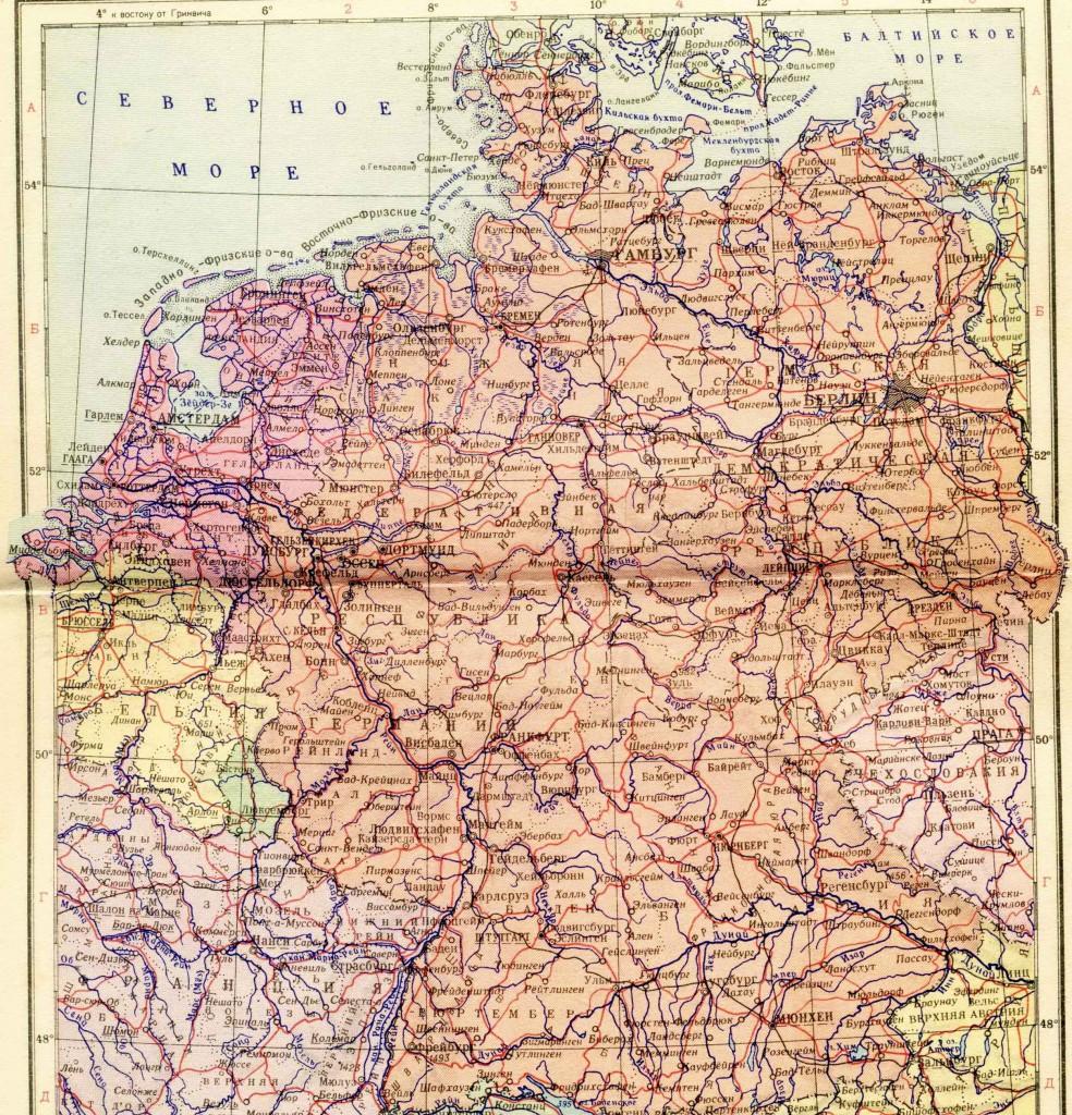 ФРГ и ГДР - политическая карта на русском языке