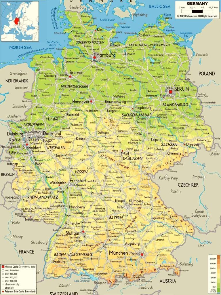 Германия на подробной физической карте