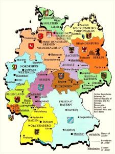 Земли и главные города Германии на карте