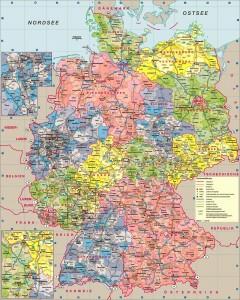 Большая политическая карта Германии на немецком языке