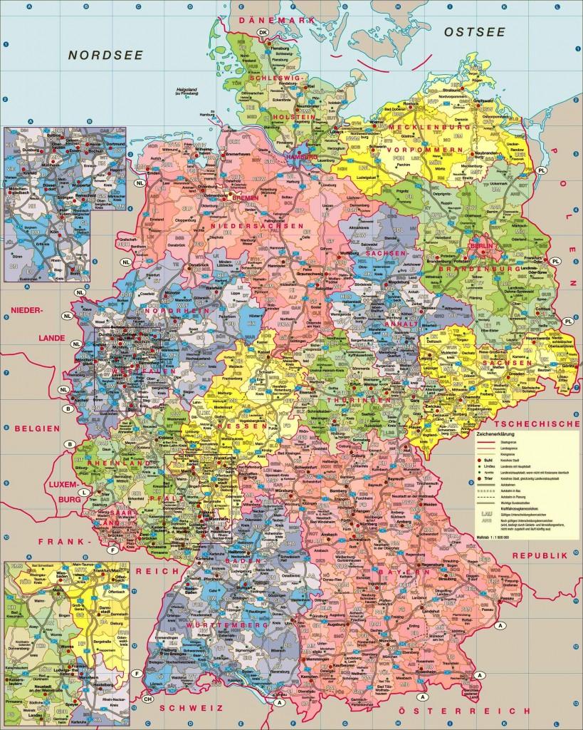 Детальная карта Германии с административно-территориальным делением