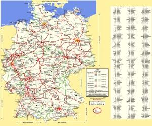 Подробная железнодорожная карта Германии