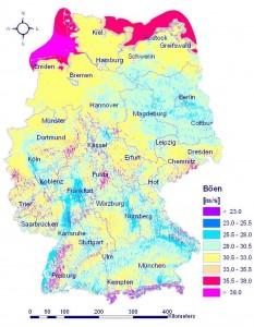 Карта Германии, на которой показана максимальная скорость ветра в разных частях страны