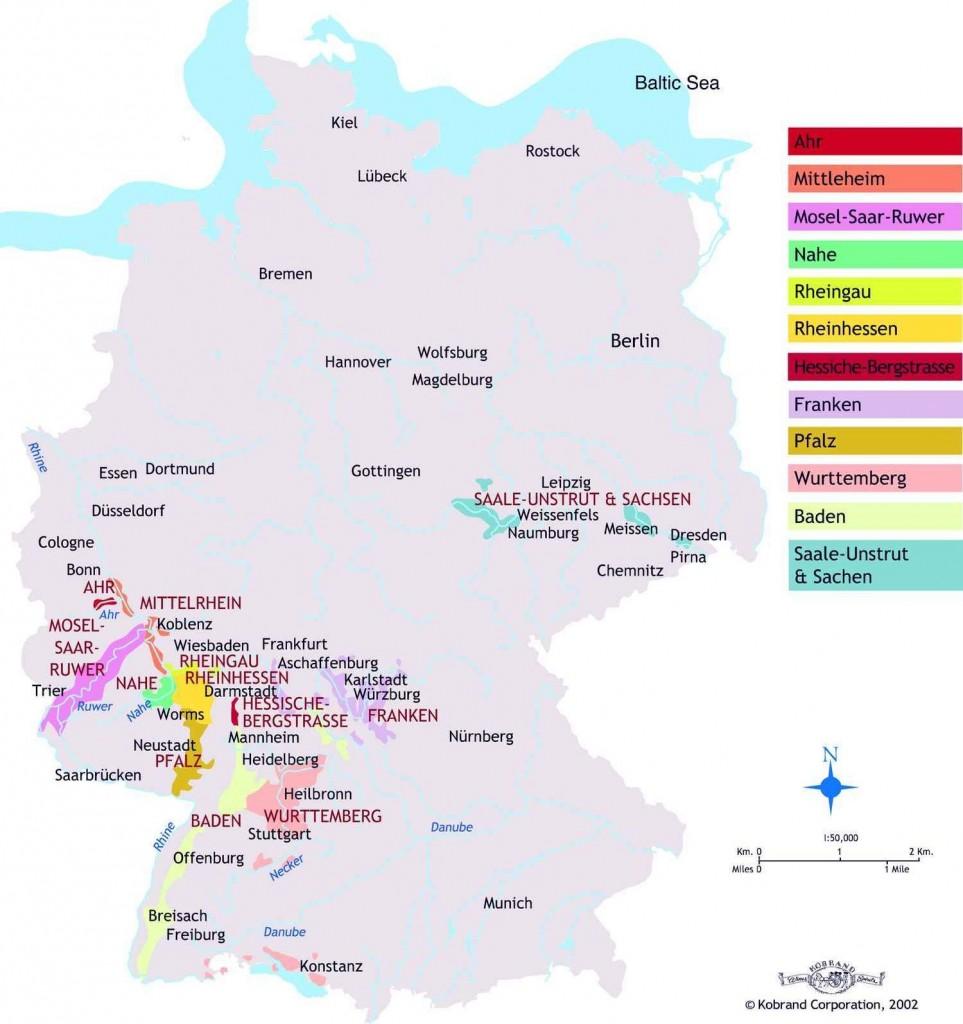 Карта районов виноградарства Германии