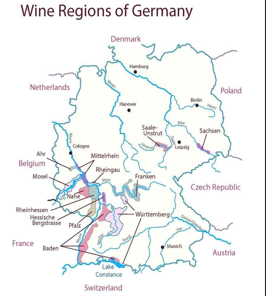 Районы виноделия ФРГ на карте