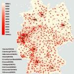 Карта плотности населения Германии