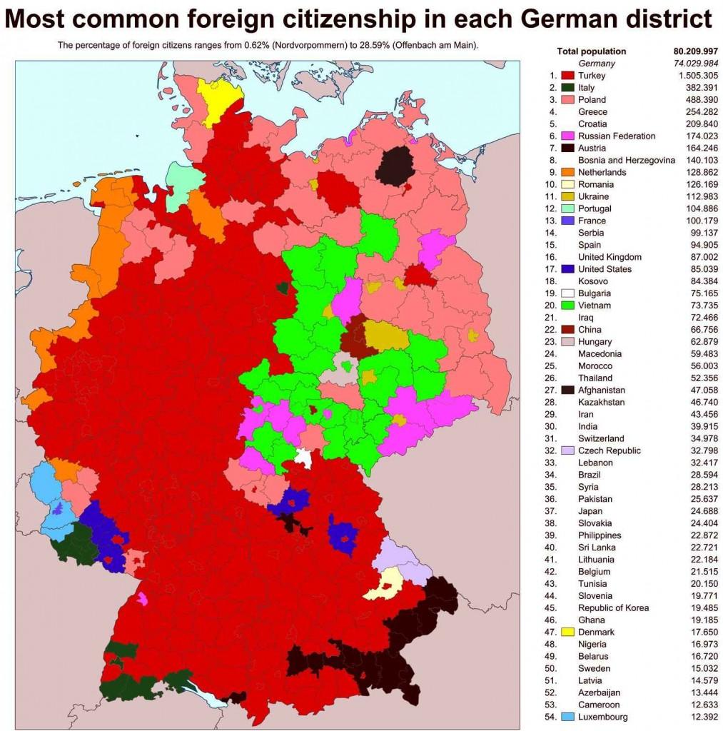 Крупнейшие инорстранные диаспоры Германии и их локализация на карте