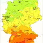 Среднегодовые значения поступления солнечного излучения на территории Германии