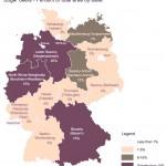 Карта, на которой показана распространенность с/х культуры сахарной свеклы в Германии