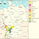 Карта, на которой обозначены районы виноделия современной Германии