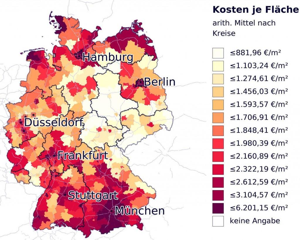 Средние цены на недвижимость в Германии