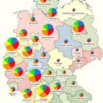 Карта, на которой отображен этнический состав и процент иммигрантского населения в разных частях Германии