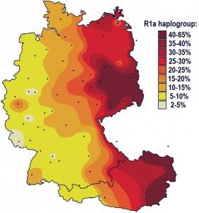 Процент распространения гаплогруппы R1a в Германии