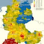 Карта, на которой отображена покупательная способность населения разных частей Германии