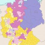Карта, на которой отображена религизная принадлежность населения Германии