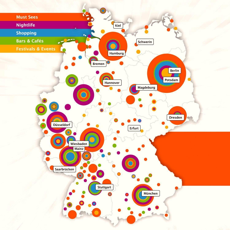 Карта Германии, на которой в виде диаграмм обозначены места, в которых преобладают те или иные виды развлечений и отдыха