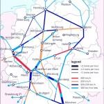 Карта маршрутов скоростных поездов Германии