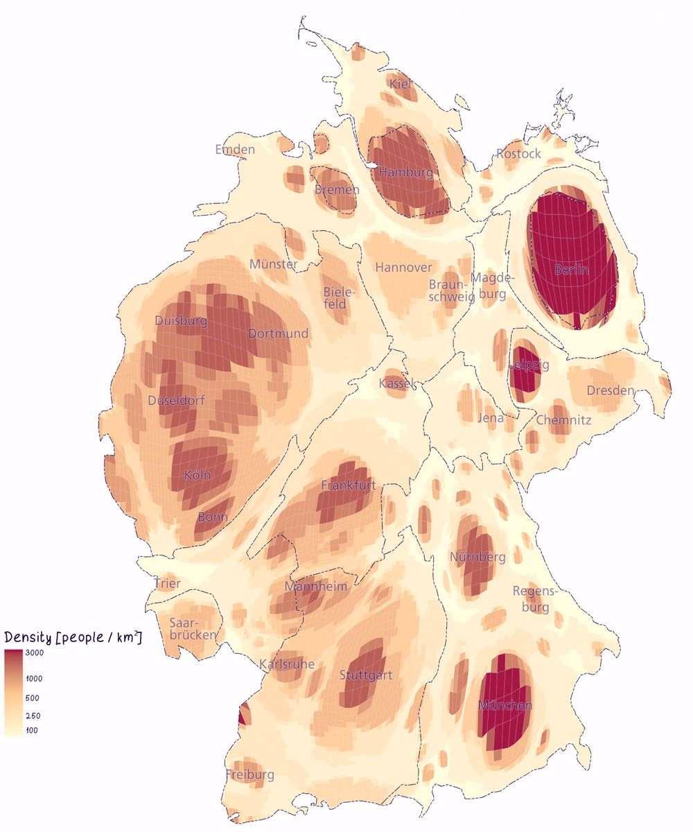 Схематическое изображение плотности населения в разных частях Германии