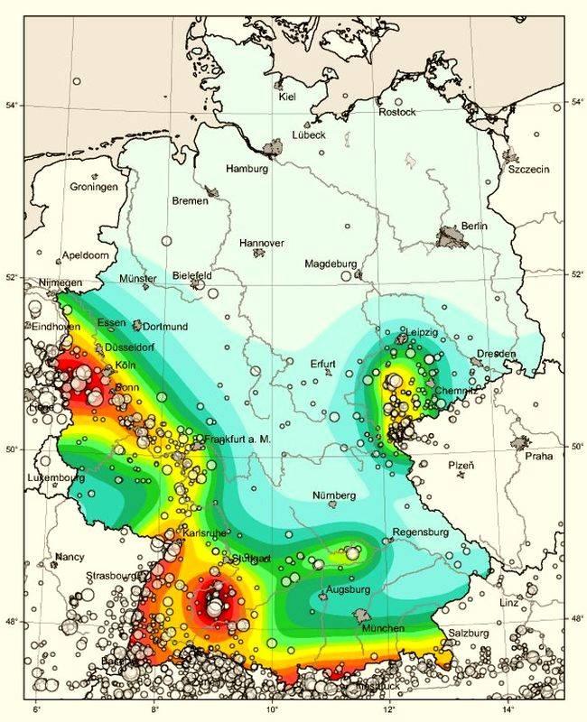 Карта, на которой отображена степень вероятности землетрясений на территории Германии